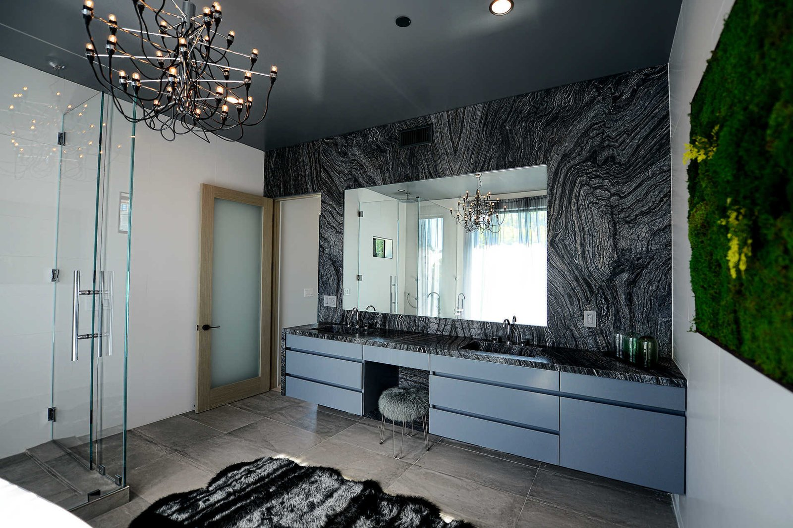 Tagged: Bath Room, Corner Shower, Enclosed Shower, Ceiling Lighting, and Drop In Sink.  Italian Modernist Home by Zillow
