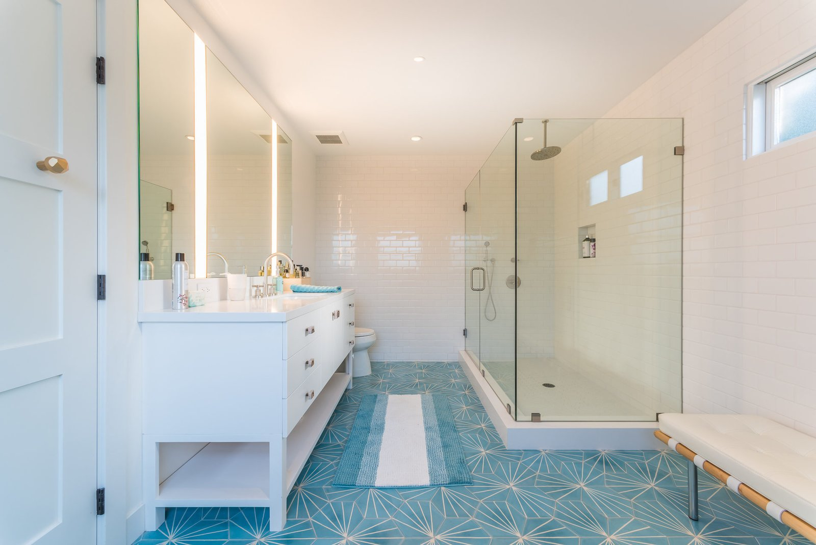 Tagged: Bath Room, Enclosed Shower, and Corner Shower.  Mid-Century Meets Boho Chic by Zillow