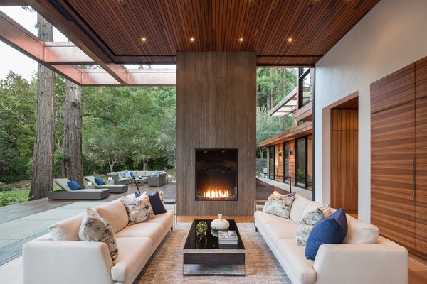 Pocket sliding doors dissappear, bringing the outdoors in. Stunning copper trellis. Photo 9 of Woodside Way modern home