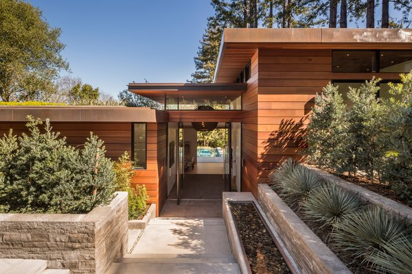 Sleek staggered roof lines, copper clad with green roof tops