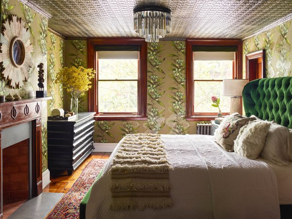 Modern home with bedroom, bed, dresser, and ceiling lighting. Photo 8 of Colorful Meatpacking District Townhouse