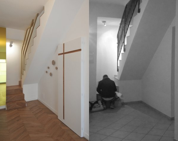 Modern home with staircase, wood tread, and metal railing. before and after photos of the staircase Photo 18 of cdr