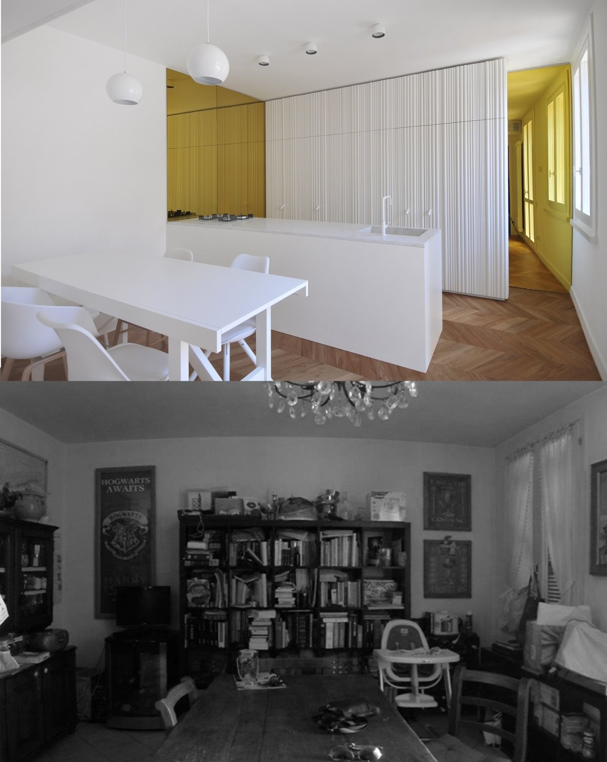 before and after photos of the kitchen  cdr by tissellistudioarchitetti