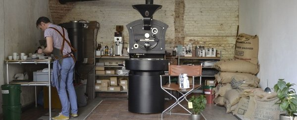 Modern home with office, desk, craft room, and ceramic tile floor. Coffee roaster, PA Photo  of Be Creative. That's what makes you different