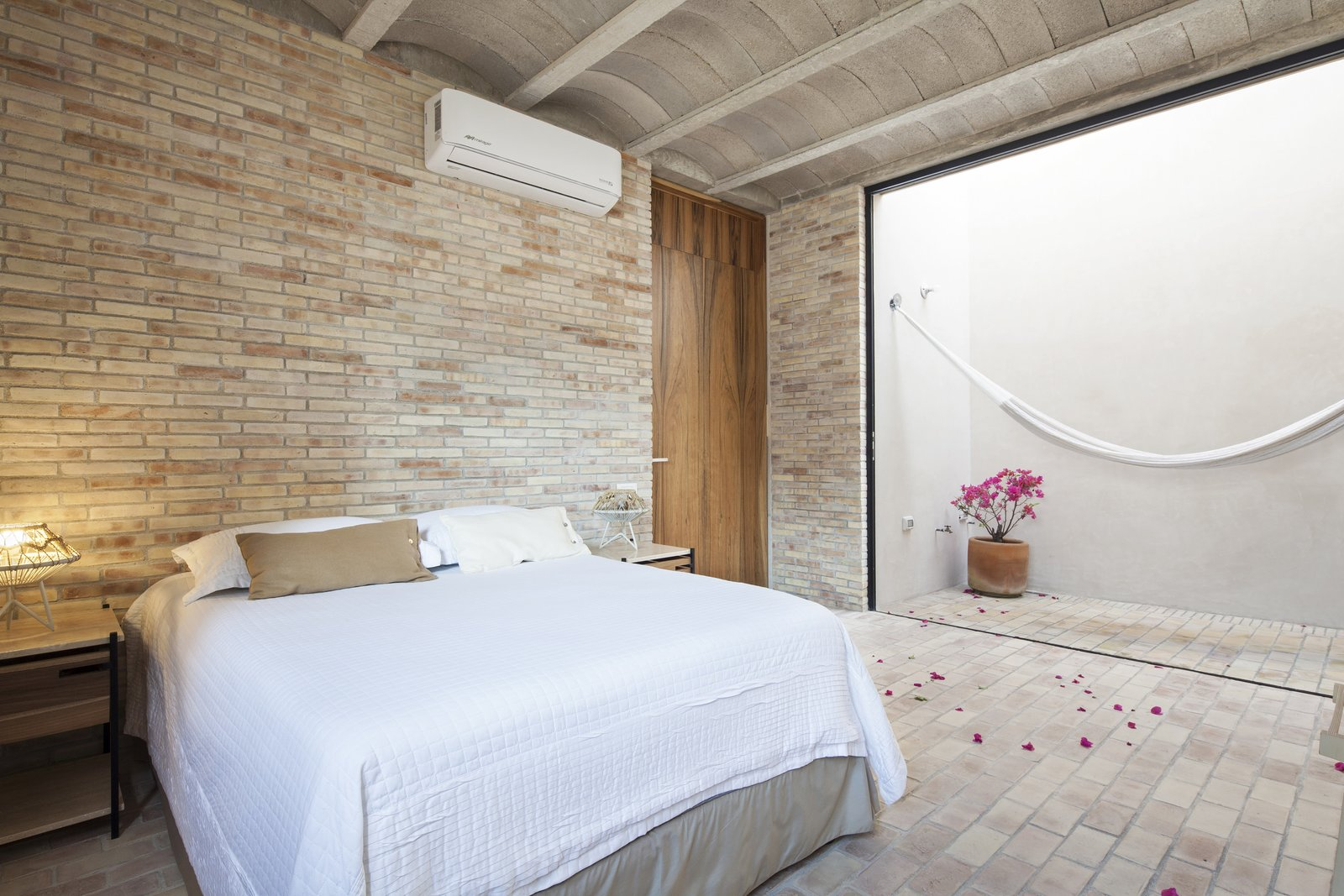 Bedroom. Tagged: Outdoor and Small Patio, Porch, Deck. Casa Iguana by OBRA BLANCA