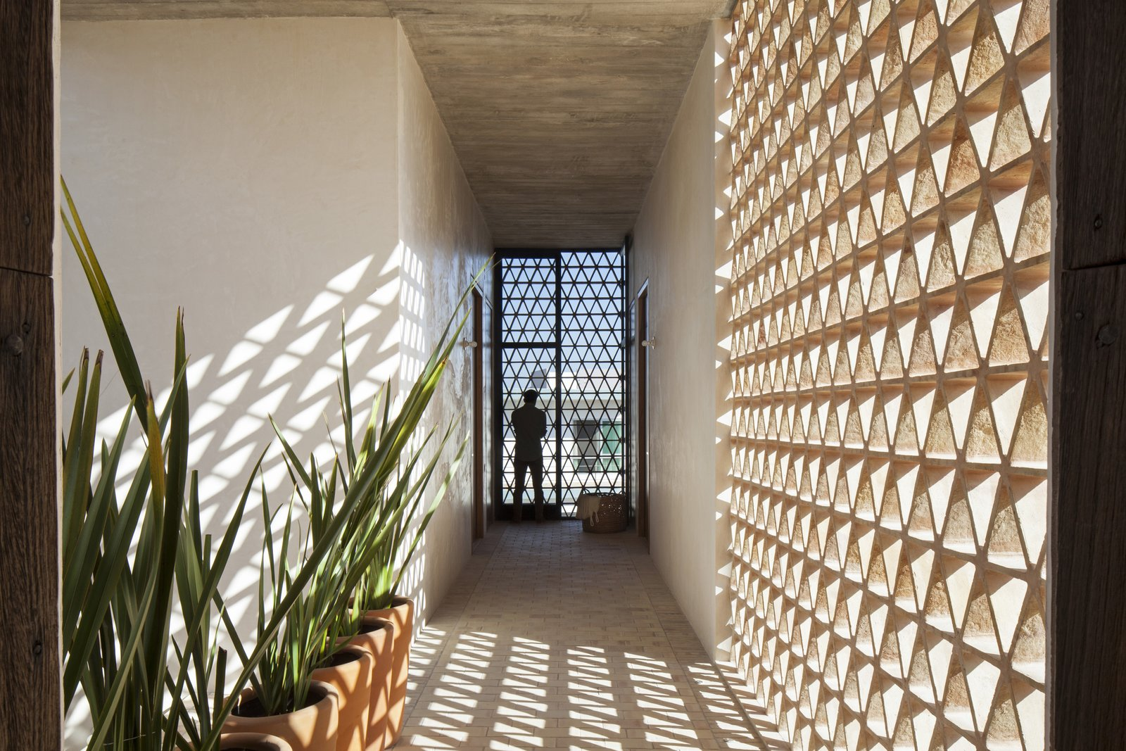 Aisle. Tagged: Hallway and Brick Floor.  Casa Iguana by OBRA BLANCA
