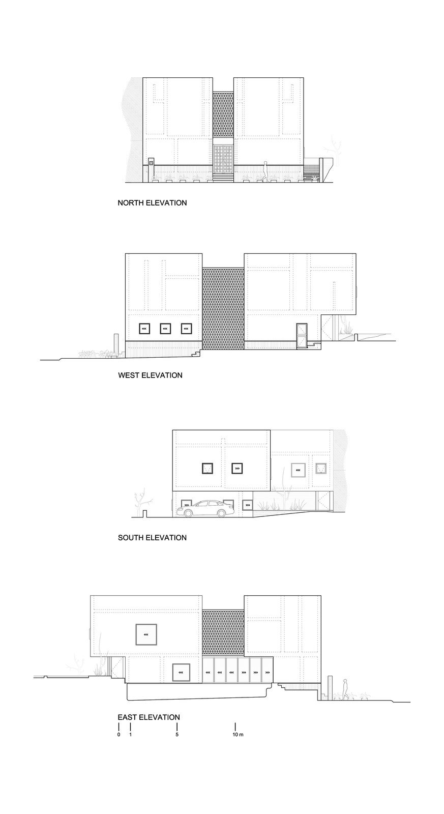 Elevation plans  Casa Iguana by OBRA BLANCA