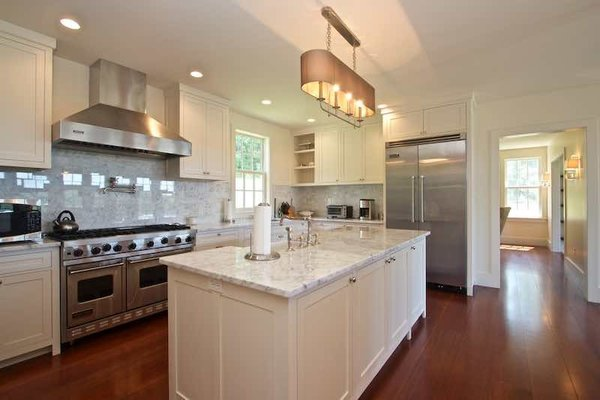 Modern home with kitchen. Open Kitchen with Island Huge Pantry Overlooking Views Photo 4 of Dennis Wedlick Design Spencertown Home