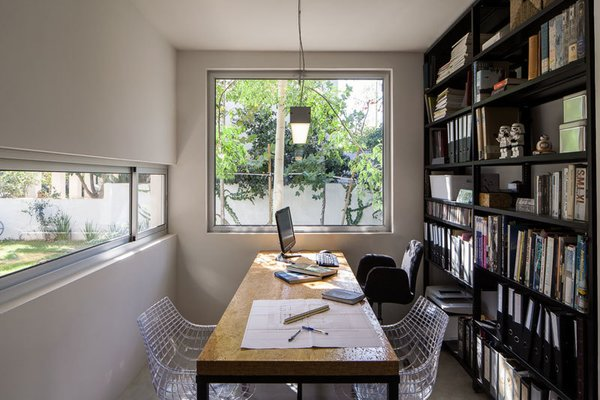 Modern home with office, chair, bookcase, study, storage, lamps, shelves, and desk. Photo 9 of Urban Life In The Country