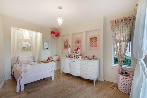 Modern home with bedroom, bed, dresser, wardrobe, night stands, ceiling lighting, and medium hardwood floor. Second Bedroom  Photo 18 of Bayview Road