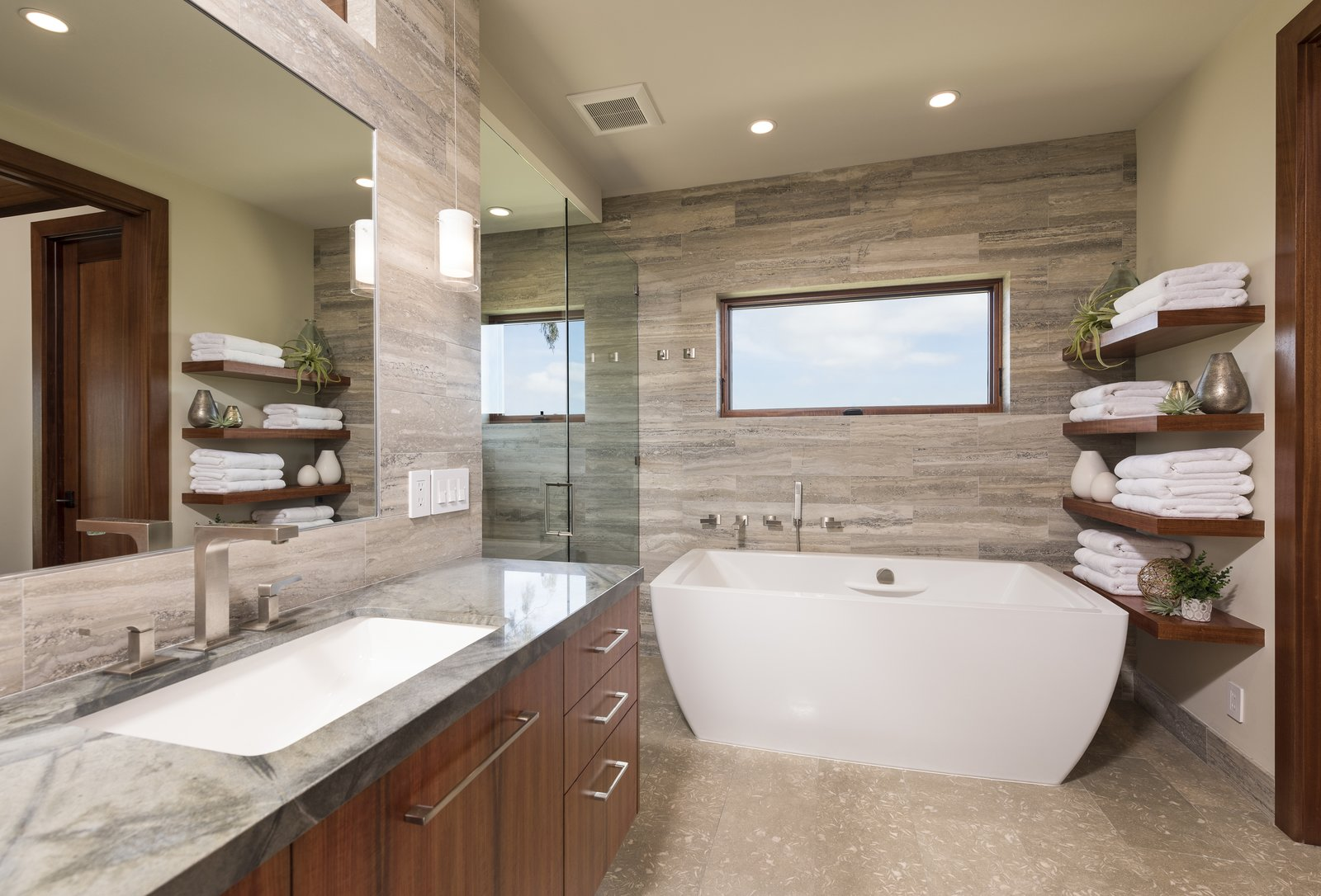 Master Bathroom Tagged: Bath, Granite, Undermount, Freestanding, Limestone, Open, Recessed, and Stone Tile.  Best Bath Granite Limestone Photos from La Jolla Modern