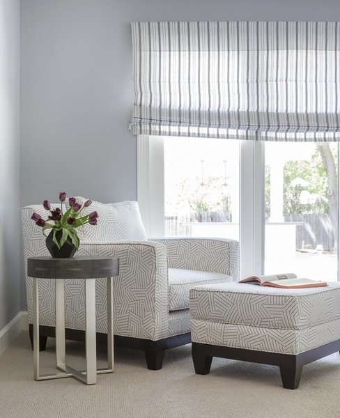Modern home with bedroom and chair. Master Bedroom Sitting Area Photo 8 of Danville Transitional Remodel