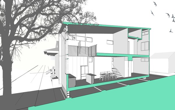 Section through the double height space Photo 9 of Dorgenois modern home