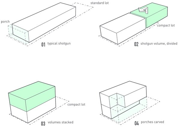 Massing strategy diagrams Photo 11 of Dorgenois modern home