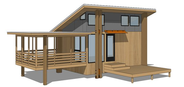 One Core with Porch and Shed Roof Photo 14 of Roost Pre-Fab Cottages RoostDIY.com modern home