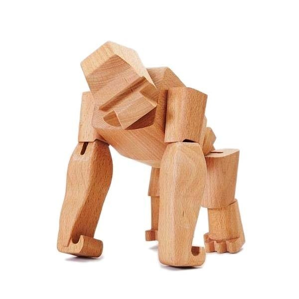 "Areaware Gorilla Poseable Wooden Figure ""Hanno"""