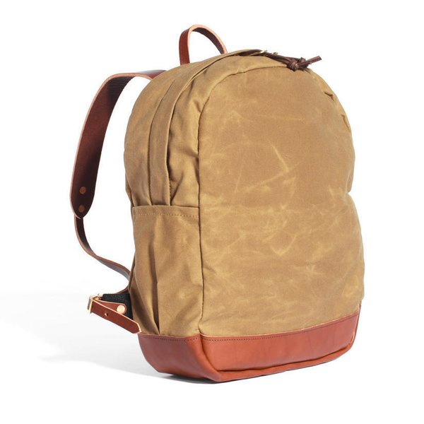 Waxed Canvas & Leather Small Zip Backpack