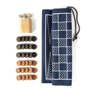 Backgammon & Checkers Game Set with Canvas Bag