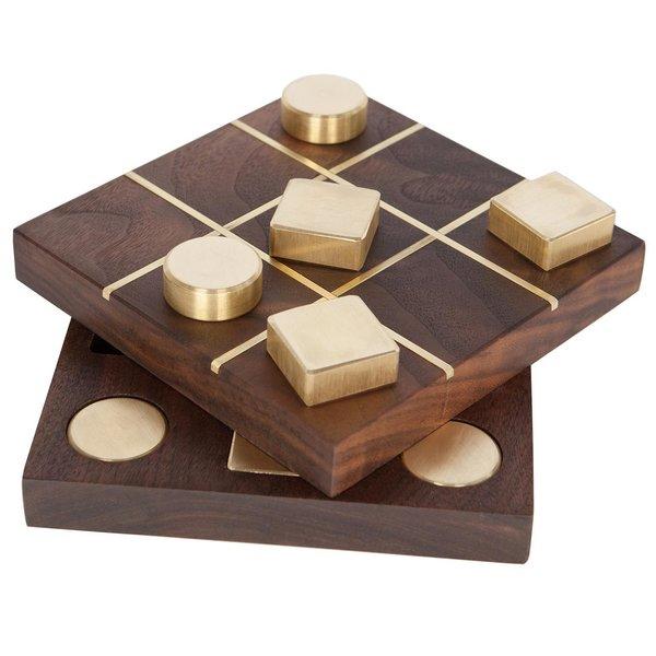 Walnut & Brass Tic-Tac-Toe Set