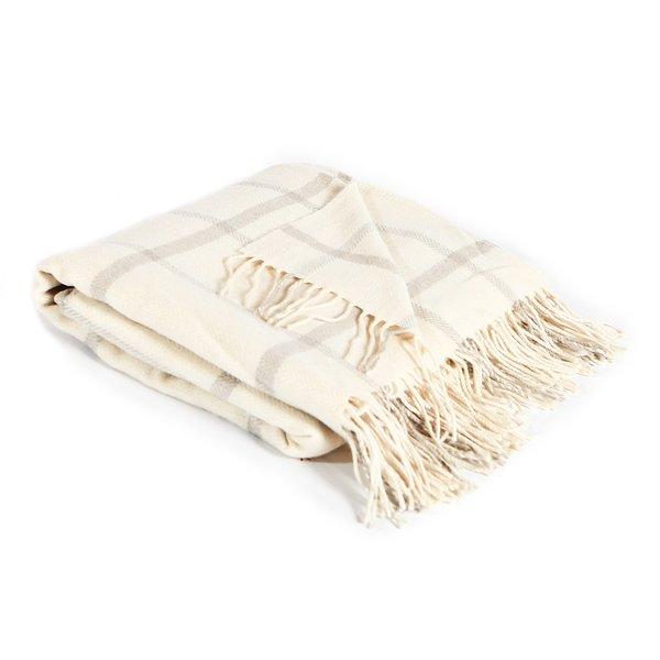 Windowpane Lambswool Throw Blanket
