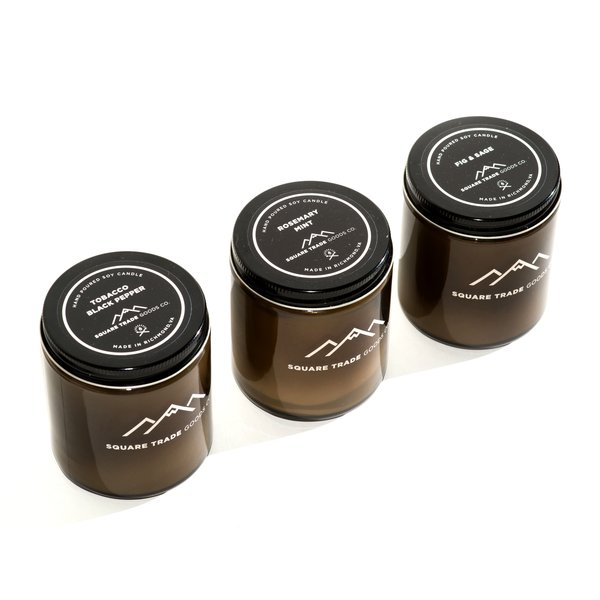 """Hand Poured Soy Candle """"Tobacco Black Pepper, Rosemary & Mint, Fig & Sage"""" (Set of 3 )"""