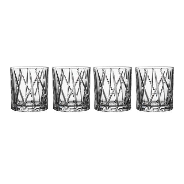 "Orrefors Crystal Old Fashioned Glasses ""City"" (Set of 4)"