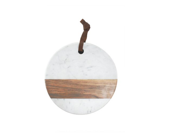 Acacia Round White Marble & Wood Board