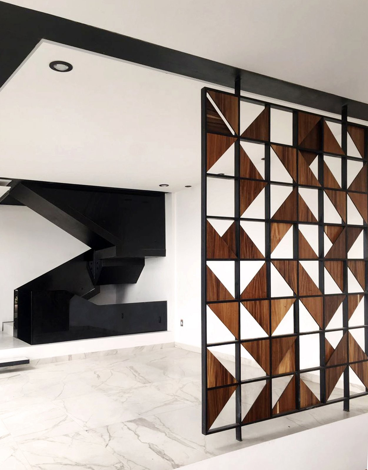 Detail - Lattice and Stairs Tagged: Dining Room, Shelves, and Porcelain Tile Floor.  Casa AB by e|arquitectos