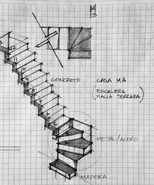 Sketch - Stairs Photo 7 of Casa MA modern home