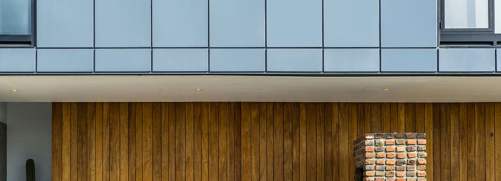 Detail - North Facade Tagged: Outdoor, Front Yard, and Wood Patio, Porch, Deck. Casa MA by e|arquitectos