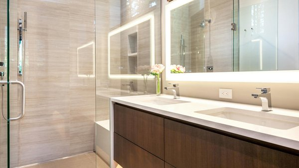 Modern home with bath room, engineered quartz counter, enclosed shower, full shower, undermount sink, ceiling lighting, corner shower, wall lighting, pendant lighting, one piece toilet, accent lighting, and recessed lighting. Guest Bath Photo 18 of Beaver Dam Luxury
