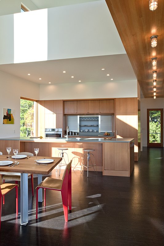Tagged: Kitchen, Wood Cabinet, Metal Backsplashe, Cork Floor, Wood Backsplashe, Concrete Counter, Recessed Lighting, Accent Lighting, and Ceiling Lighting.  Marsh House by McInturff Architects