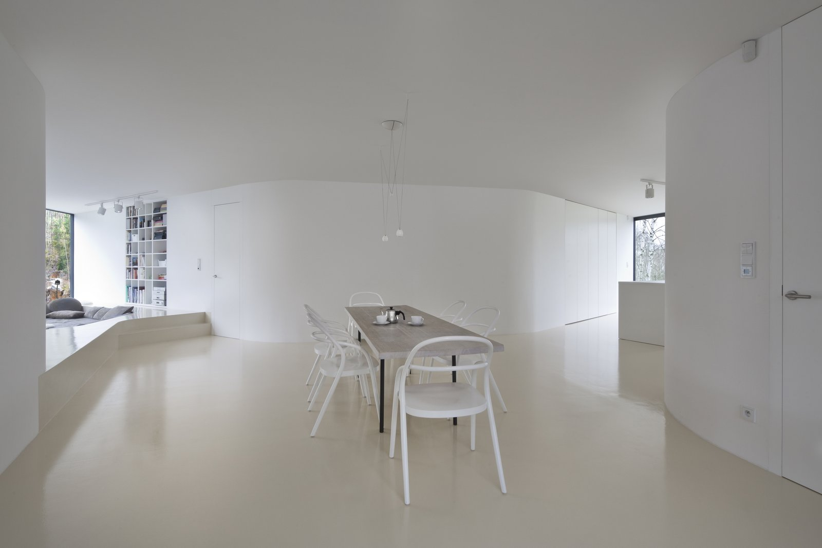 Tagged: Dining Room, Table, Shelves, Chair, and Ceiling Lighting.  Family House Prototype by Matej Šišolák
