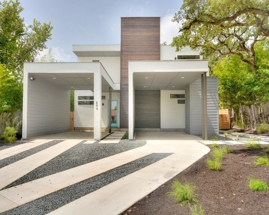 Modern home with outdoor, shrubs, front yard, grass, trees, hardscapes, walkways, concrete patio, porch, deck, and pavers patio, porch, deck. Photo 3 of 809 W. Live Oak