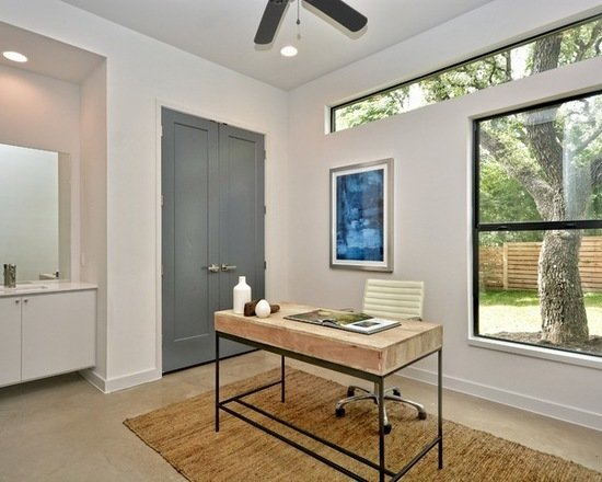Modern home with office, study, chair, shelves, desk, and light hardwood floor. Photo 5 of 809 W. Live Oak