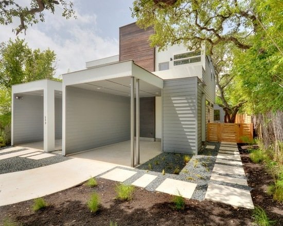 Modern home with outdoor, grass, trees, front yard, hardscapes, shrubs, gardens, walkways, horizontal fence, and wood fence. Photo 7 of 809 W. Live Oak