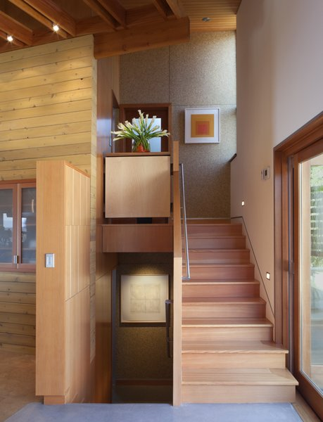 Modern home with staircase and wood tread. Photo 9 of Santa Ynez House