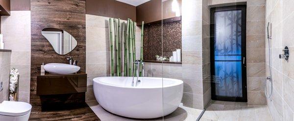 Modern home with bath room, vessel sink, dark hardwood floor, wood counter, ceramic tile floor, freestanding tub, open shower, and ceramic tile wall. Photo 11 of Voluntari Residence
