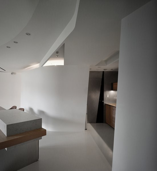 Modern home with wood counter, ceiling lighting, concrete floor, wood cabinet, recessed lighting, and living room. Lights and air conditioning vents are integrated into the ceiling and enrich its variation. Photo 5 of Fluid House