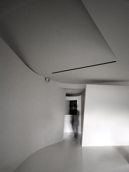 Modern home with interior, living room, concrete floor, and ceiling lighting. After passing an in-between turning defined by two curved partitions, one enters the private area that contains a bedroom, a bathroom and a walk-in closet.  Photo 6 of Fluid House