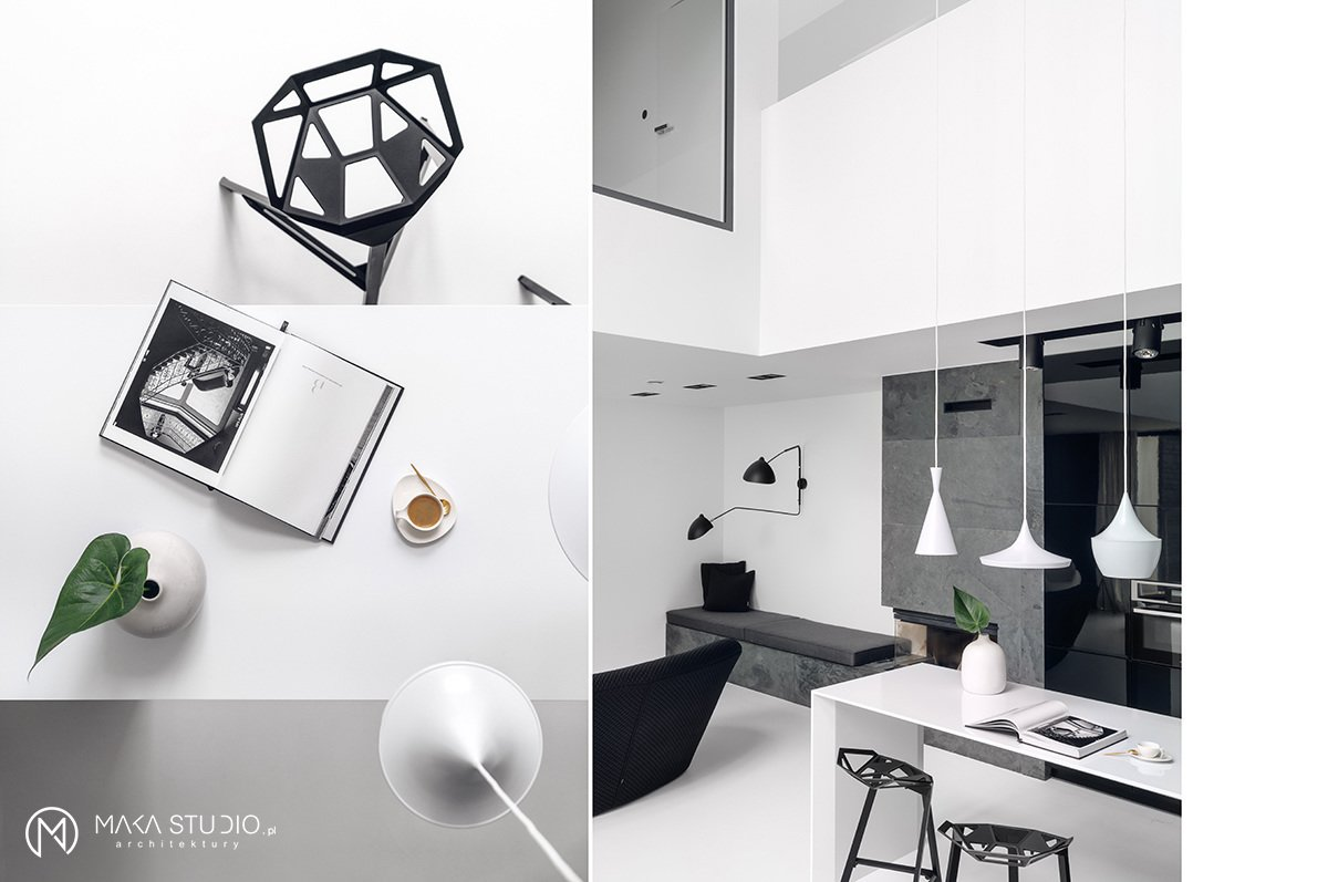 Tagged: Kitchen, Stone Counter, Stone Slab Backsplashe, Wood Cabinet, White Cabinet, Pendant Lighting, Recessed Lighting, and Wall Lighting.  Minimal Seaside Villa by MAKA Studio