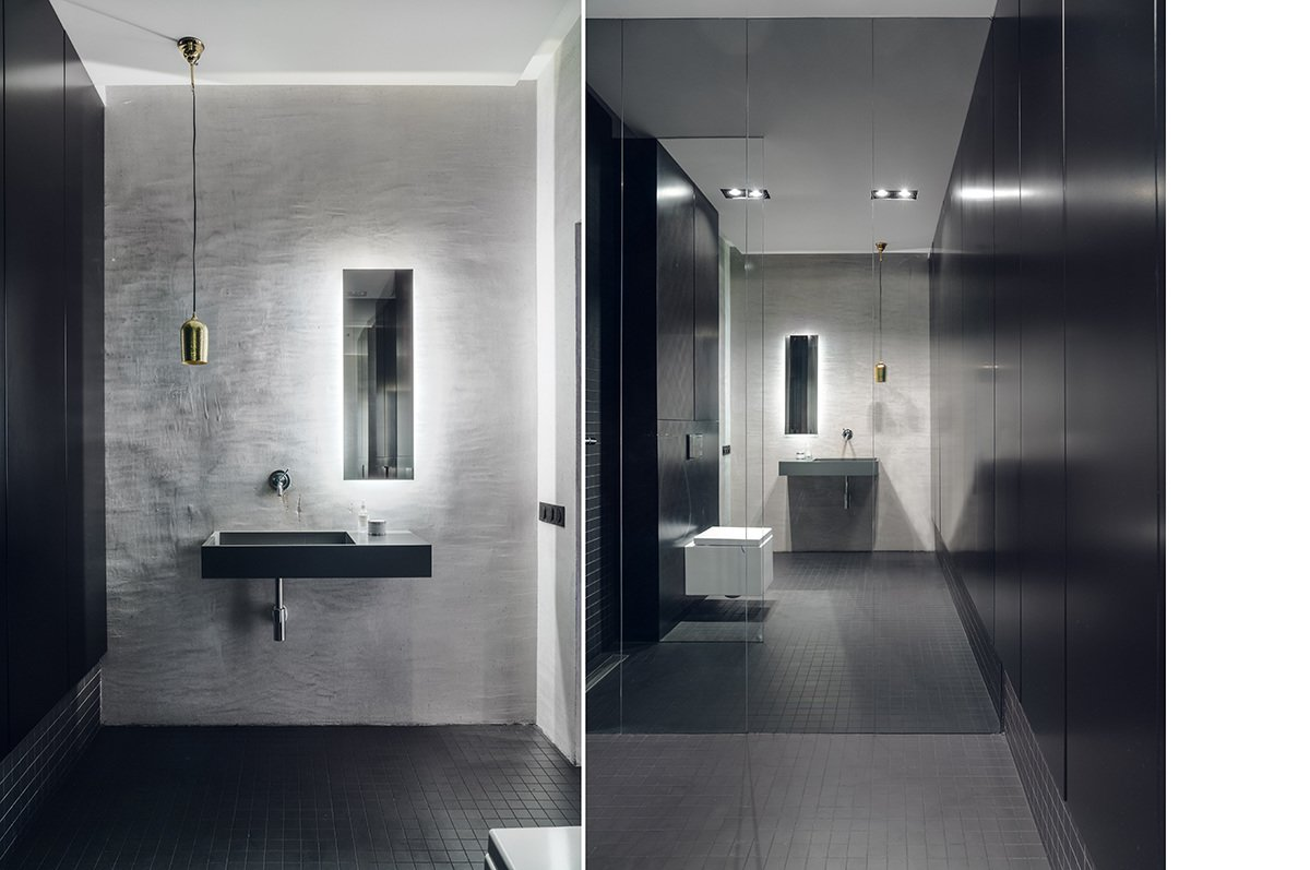 Tagged: Bath Room, Wall Mount Sink, Ceramic Tile Floor, Quartzite Counter, Engineered Quartz Counter, Enclosed Shower, Wall Lighting, Recessed Lighting, Concrete Wall, Pendant Lighting, Mosaic Tile Wall, and One Piece Toilet. Minimal Seaside Villa by MAKA Studio