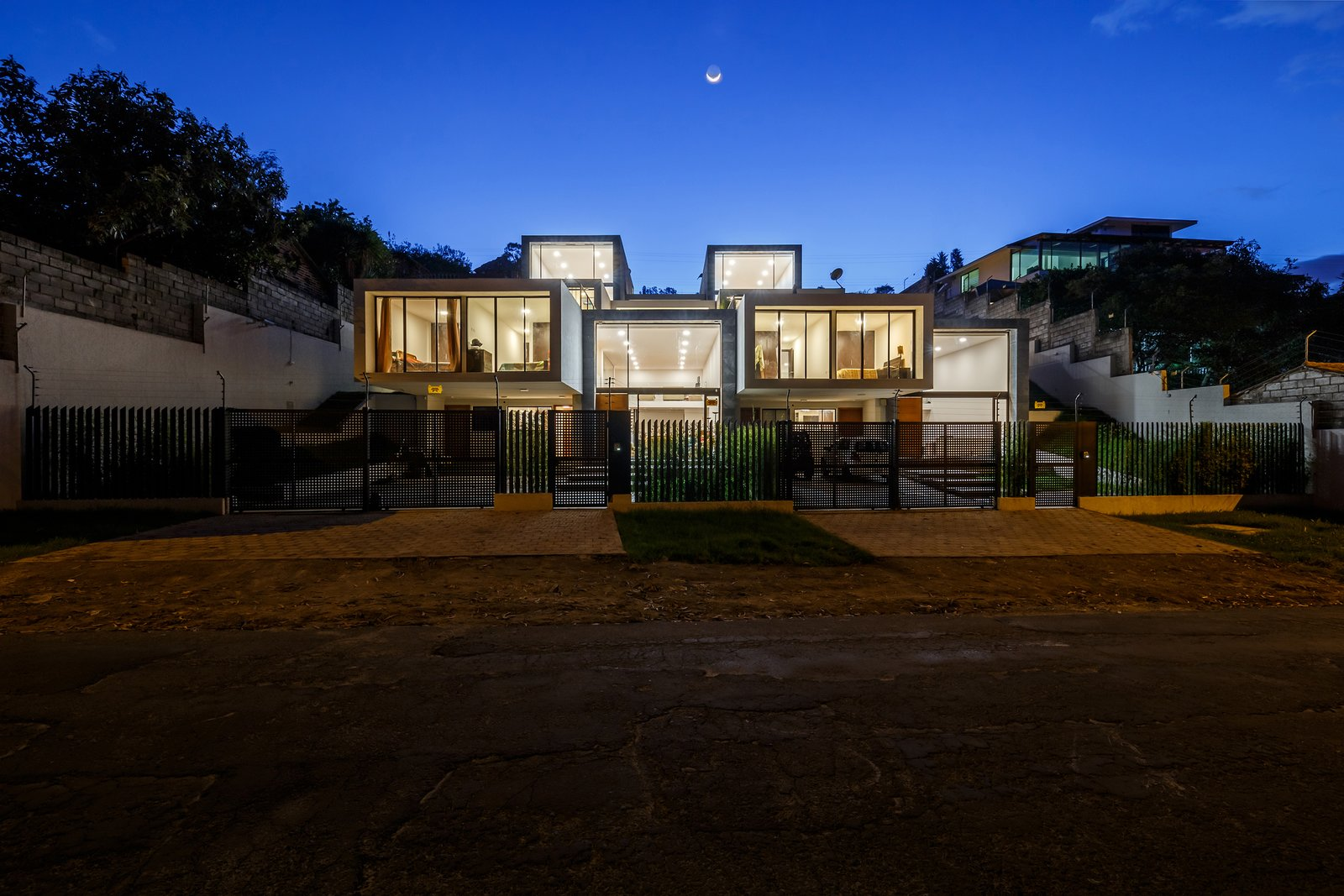 Tagged: Outdoor, Front Yard, and Concrete Patio, Porch, Deck.  FF Houses by TEC Taller EC