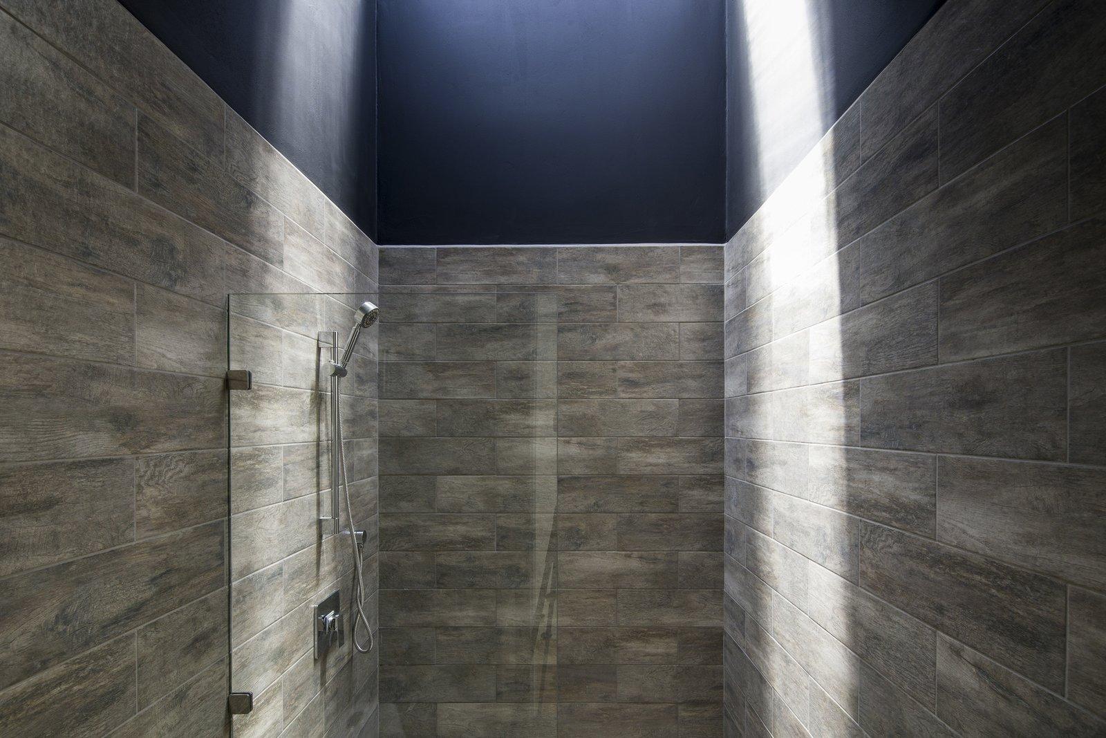 Tagged: Bath Room, Porcelain Tile Floor, Porcelain Tile Wall, Corner Shower, and Open Shower.  Casa Ching by MG design studio