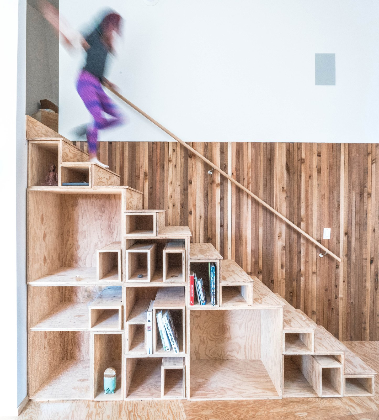 Tagged: Wood Railing, Wood Tread, Under Stairs Storage Type, and Storage Room. MARTaK Passive House by Baosol Design