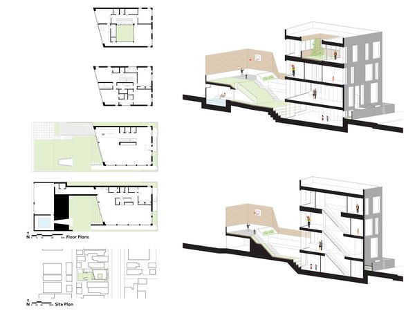 Plans and sections  Mohawk House by UrbanLab