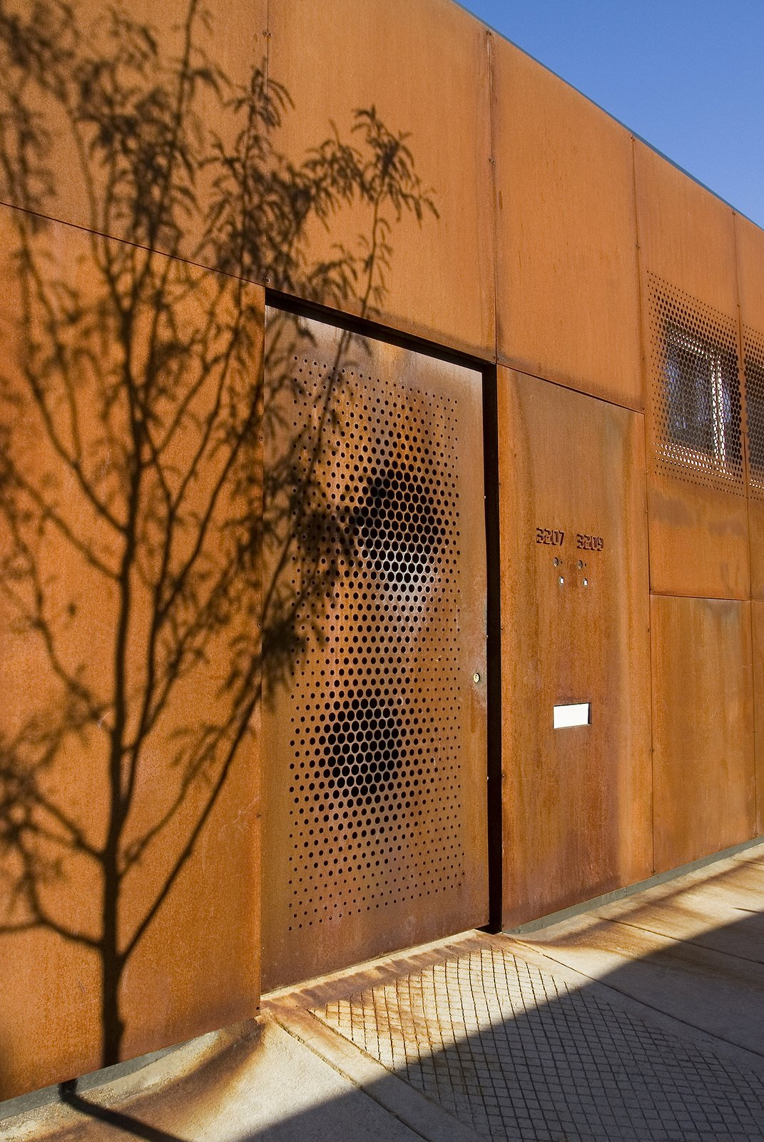 Facade made with Corten steel Tagged: Outdoor, Front Yard, and Trees.  Morgan Street Live/Work by UrbanLab