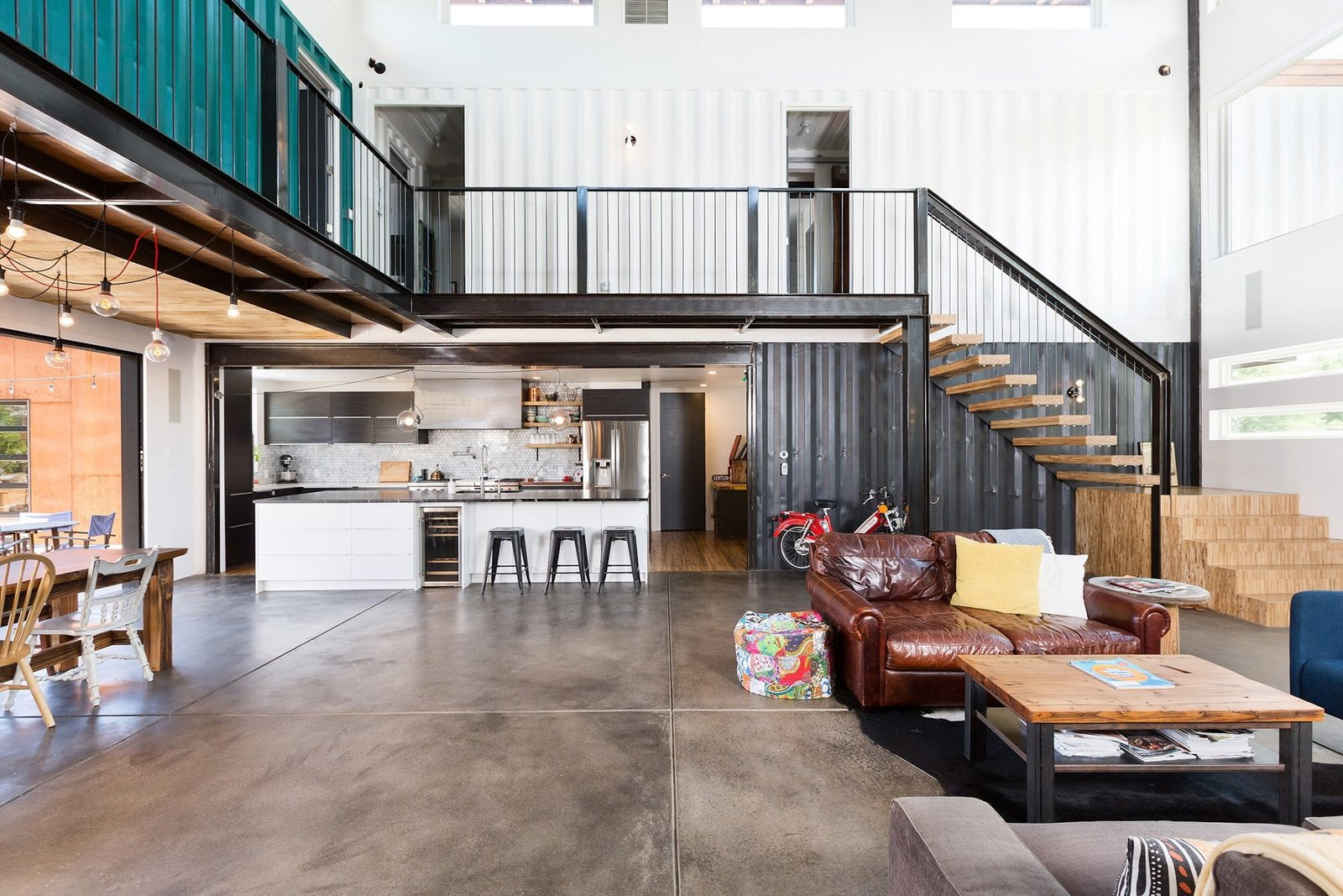Chris Boylen Photography Tagged: Living Room, Chair, Bench, Ceiling Lighting, End Tables, and Sofa.  The Container house by regan foster