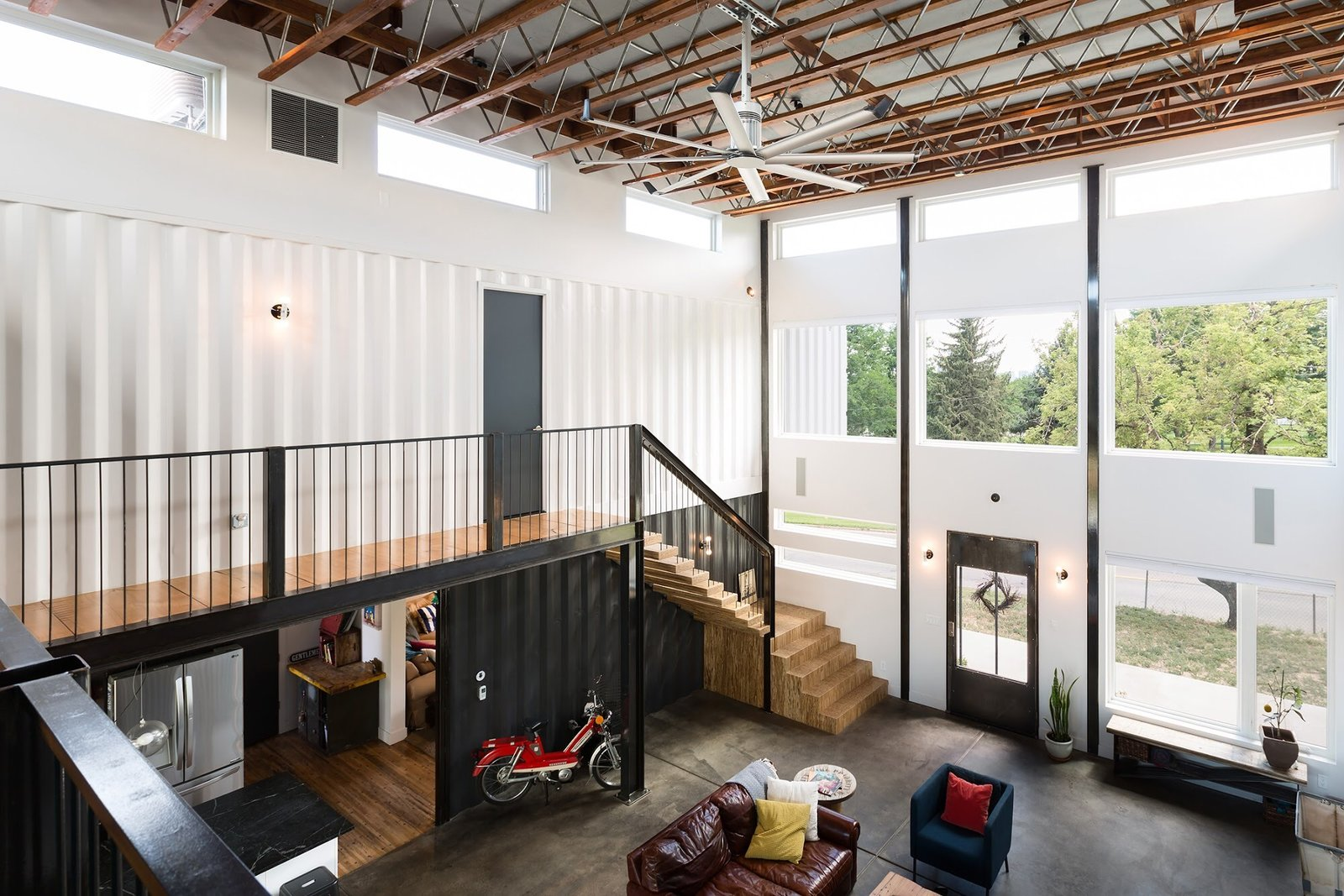 Chris Boylen Photography Tagged: Living Room, Chair, Bench, Sofa, End Tables, Ceiling Lighting, Floor Lighting, Table Lighting, and Medium Hardwood Floor.  The Container house by regan foster