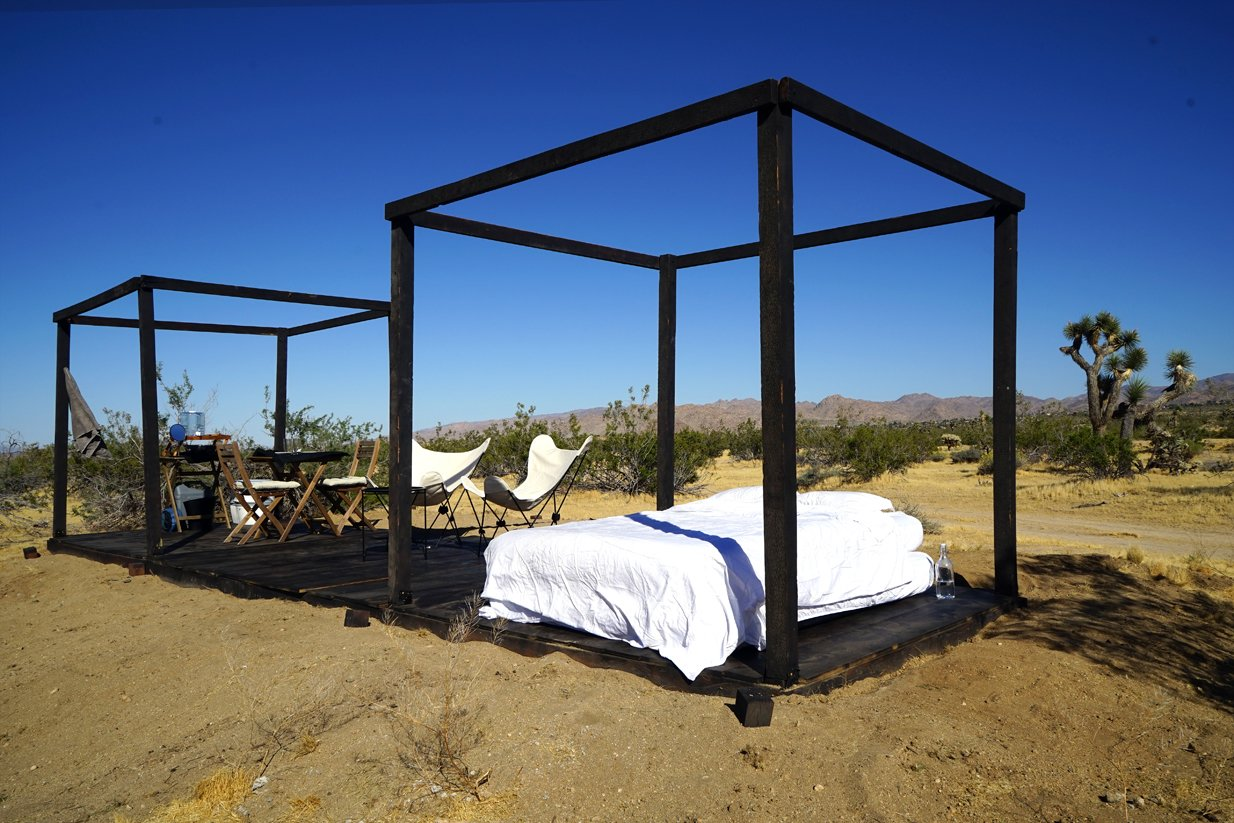 Folding wooden cube frames  in convertible mode Tagged: Bedroom and Dark Hardwood Floor.  Joshua Tree Case Study Cabin by Mike Vensel